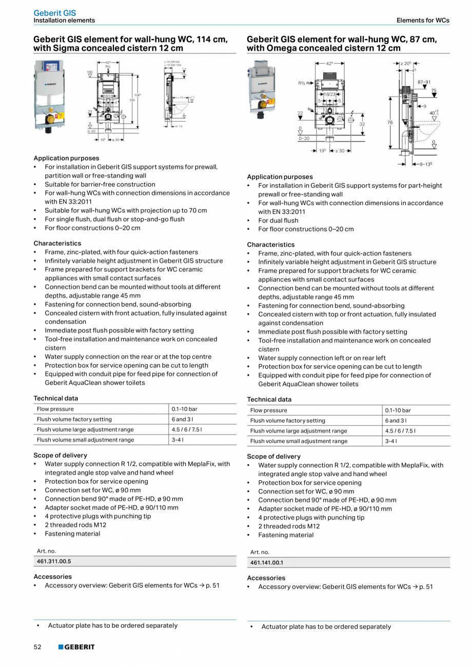 Pagina 52 - Sisteme sanitare Geberit 2015-2016 GEBERIT Scurgere in perete, Scurgere in pardoseala,...