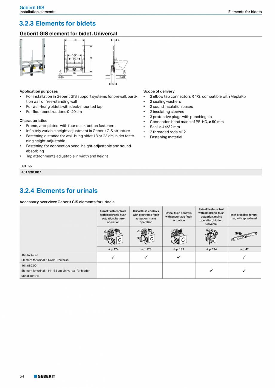 Pagina 54 - Sisteme sanitare Geberit 2015-2016 GEBERIT Scurgere in perete, Scurgere in pardoseala,...