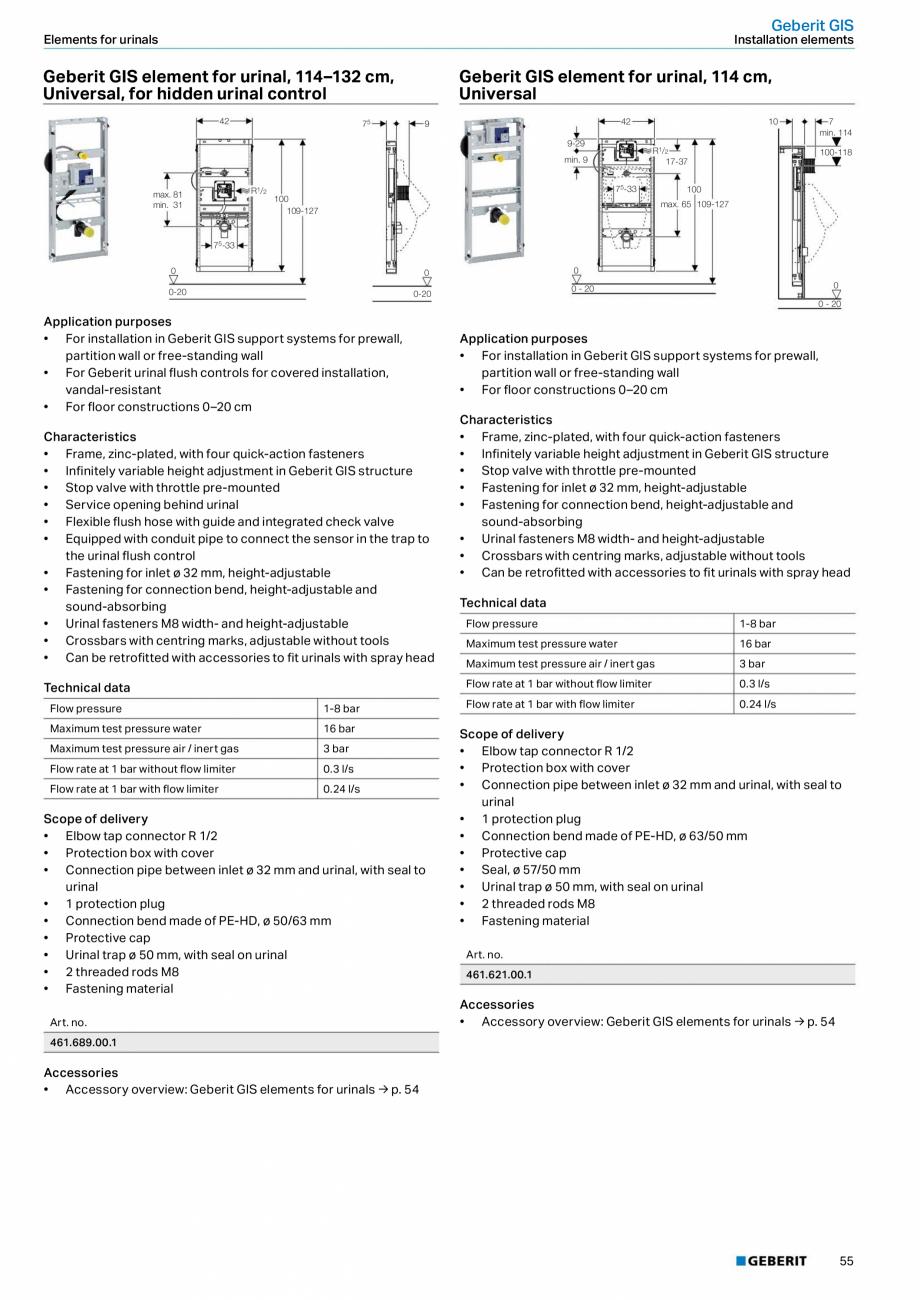 Pagina 55 - Sisteme sanitare Geberit 2015-2016 GEBERIT Scurgere in perete, Scurgere in pardoseala,...