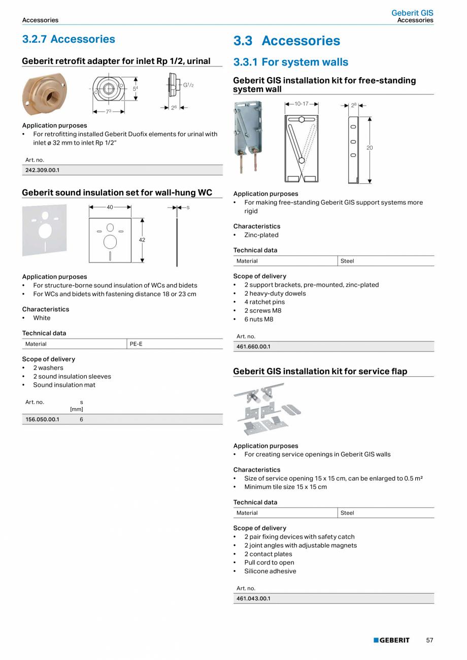 Pagina 57 - Sisteme sanitare Geberit 2015-2016 GEBERIT Scurgere in perete, Scurgere in pardoseala,...