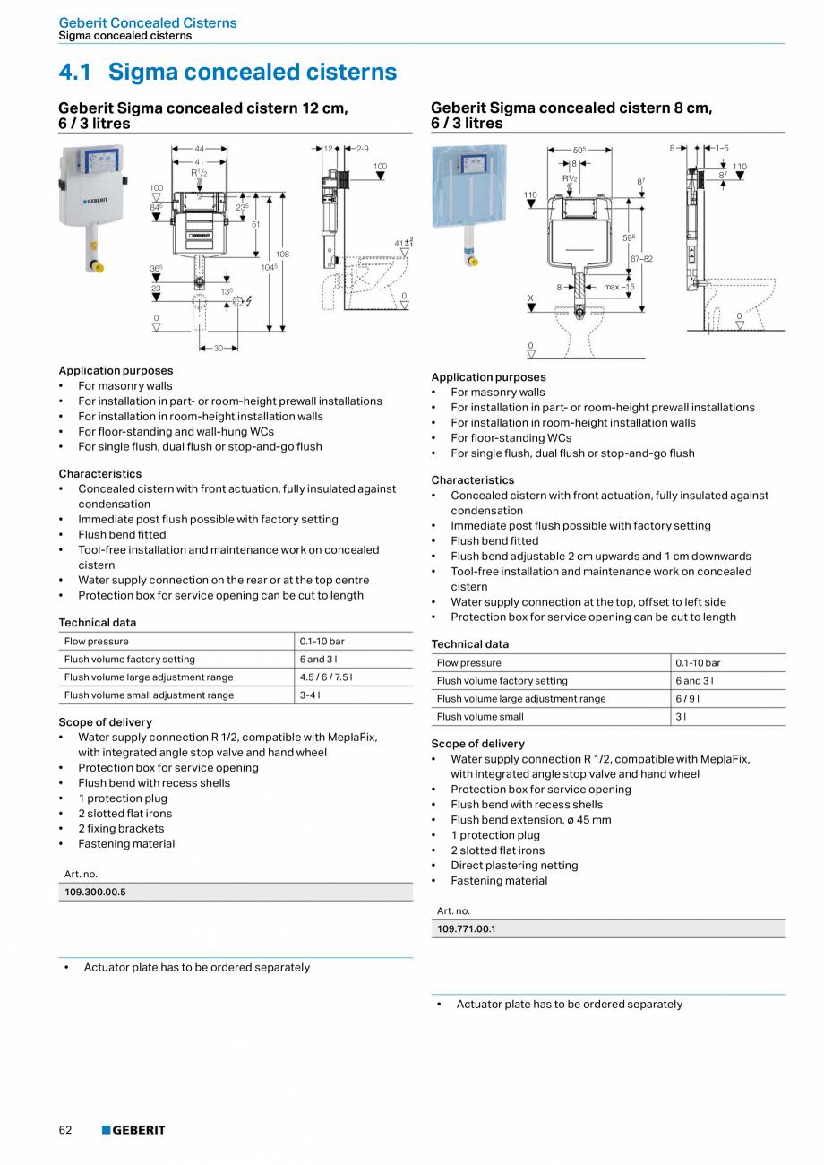 Pagina 62 - Sisteme sanitare Geberit 2015-2016 GEBERIT Scurgere in perete, Scurgere in pardoseala,...