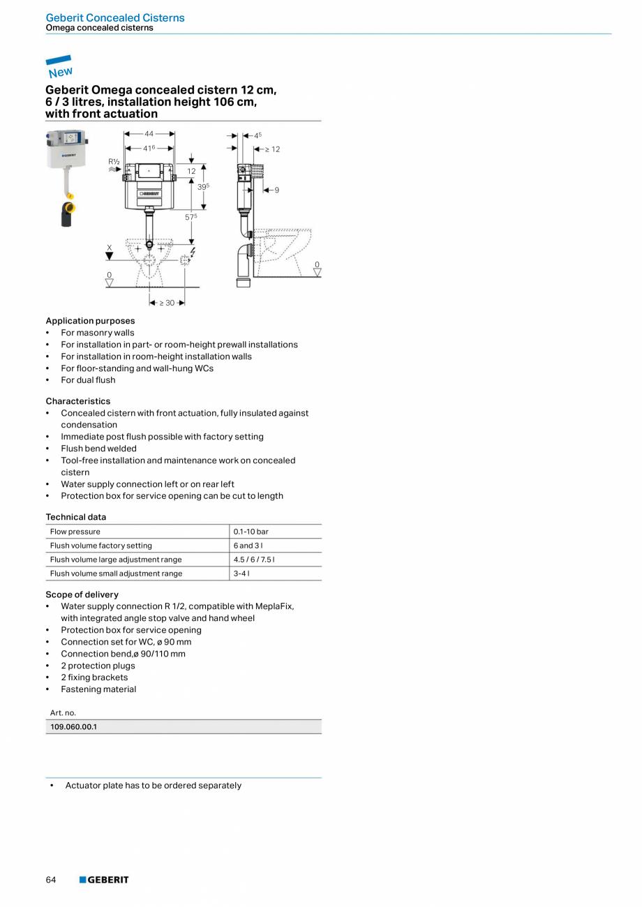 Pagina 64 - Sisteme sanitare Geberit 2015-2016 GEBERIT Scurgere in perete, Scurgere in pardoseala,...