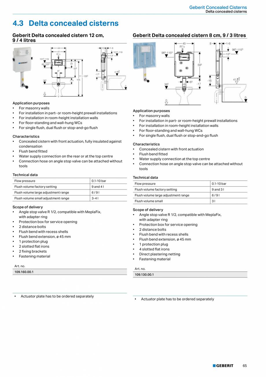 Pagina 65 - Sisteme sanitare Geberit 2015-2016 GEBERIT Scurgere in perete, Scurgere in pardoseala,...