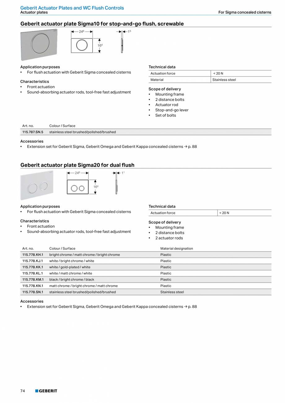 Pagina 74 - Sisteme sanitare Geberit 2015-2016 GEBERIT Scurgere in perete, Scurgere in pardoseala,...