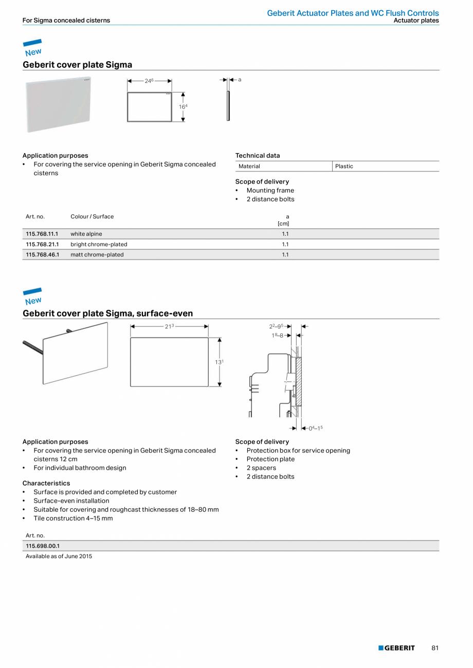 Pagina 81 - Sisteme sanitare Geberit 2015-2016 GEBERIT Scurgere in perete, Scurgere in pardoseala,...