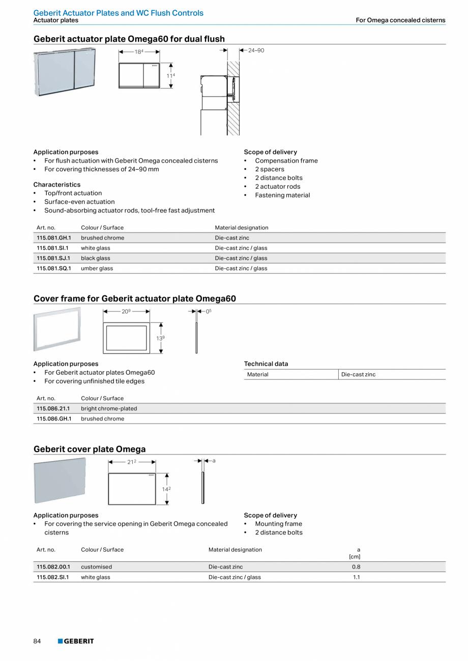 Pagina 84 - Sisteme sanitare Geberit 2015-2016 GEBERIT Scurgere in perete, Scurgere in pardoseala,...