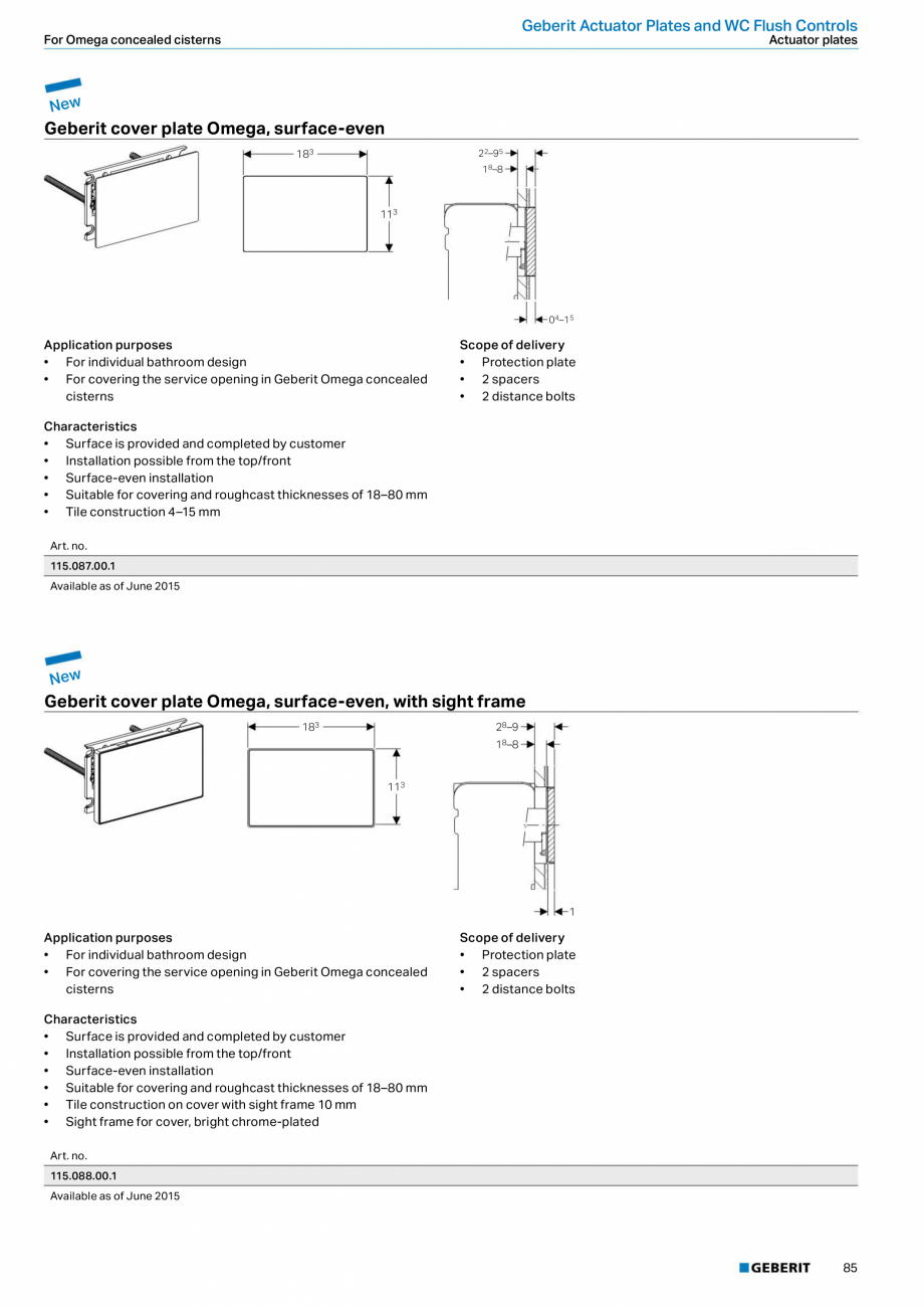 Pagina 85 - Sisteme sanitare Geberit 2015-2016 GEBERIT Scurgere in perete, Scurgere in pardoseala,...