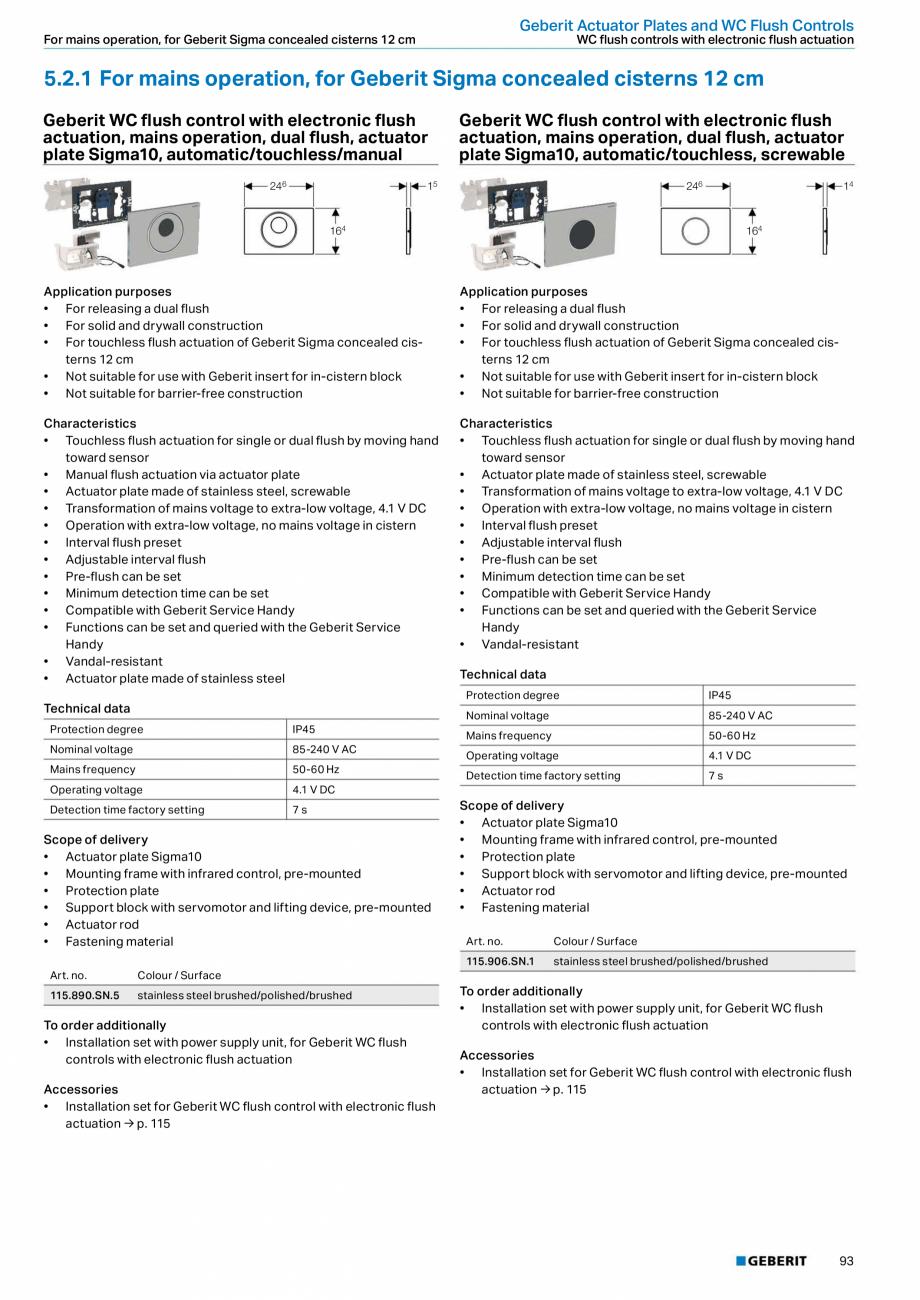 Pagina 93 - Sisteme sanitare Geberit 2015-2016 GEBERIT Scurgere in perete, Scurgere in pardoseala,...