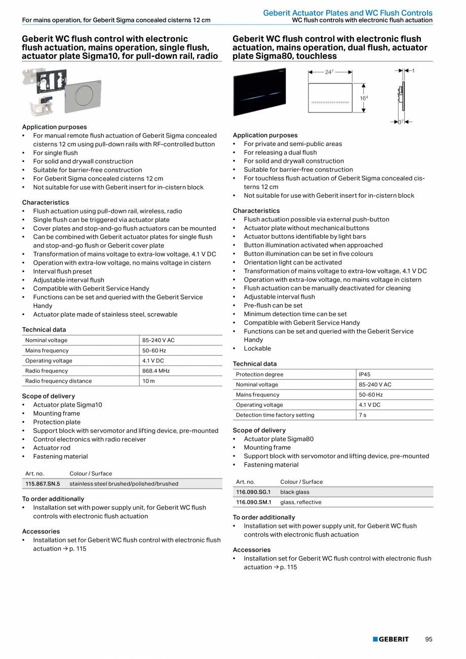 Pagina 95 - Sisteme sanitare Geberit 2015-2016 GEBERIT Scurgere in perete, Scurgere in pardoseala,...