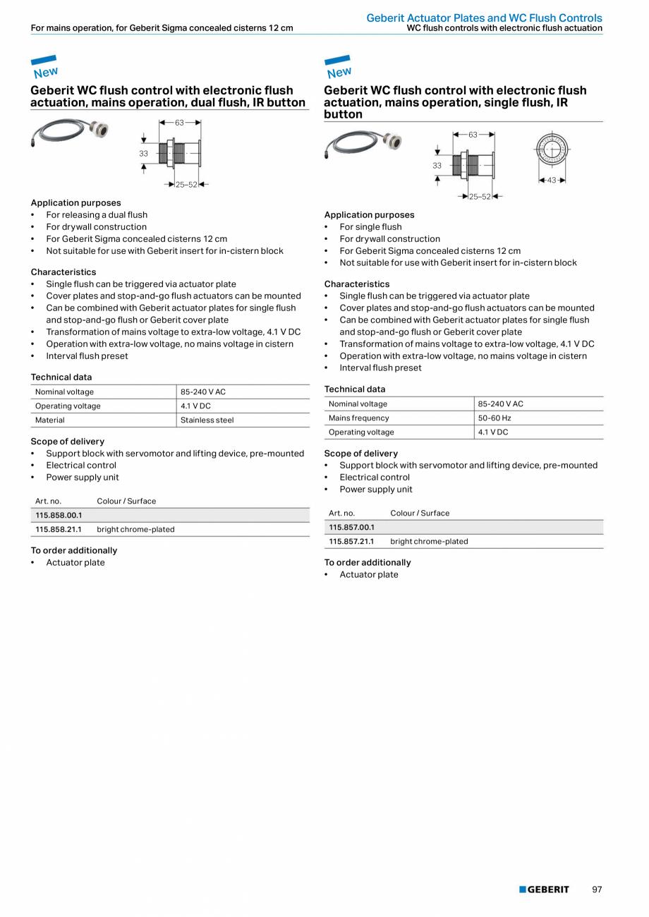 Pagina 97 - Sisteme sanitare Geberit 2015-2016 GEBERIT Scurgere in perete, Scurgere in pardoseala,...