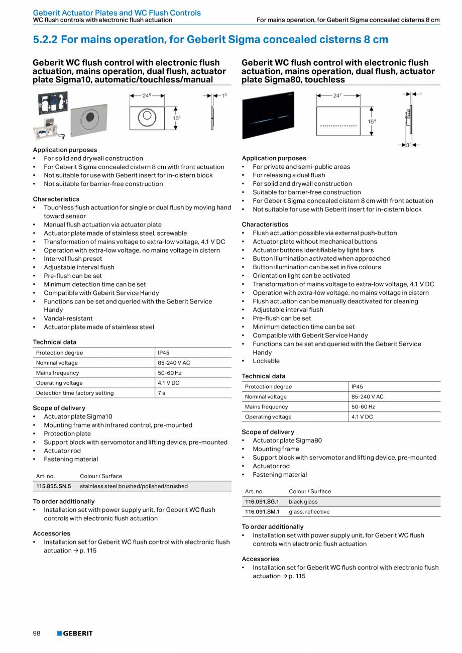Pagina 98 - Sisteme sanitare Geberit 2015-2016 GEBERIT Scurgere in perete, Scurgere in pardoseala,...