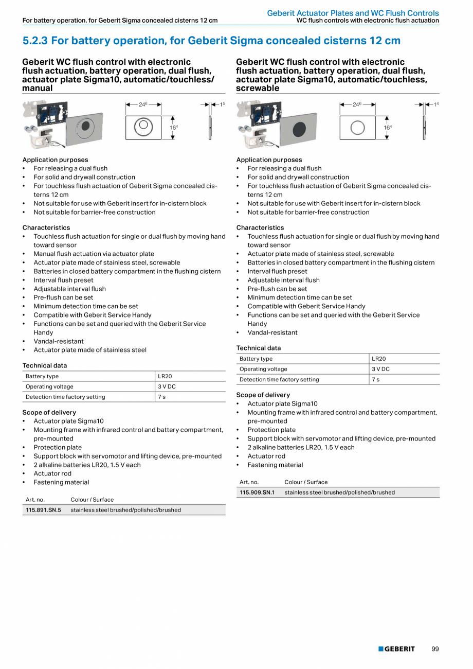 Pagina 99 - Sisteme sanitare Geberit 2015-2016 GEBERIT Scurgere in perete, Scurgere in pardoseala,...