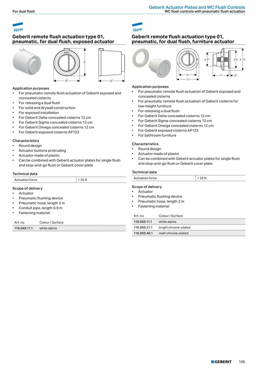 Pagina 105 - Sisteme sanitare Geberit 2015-2016 GEBERIT Scurgere in perete, Scurgere in pardoseala, ...