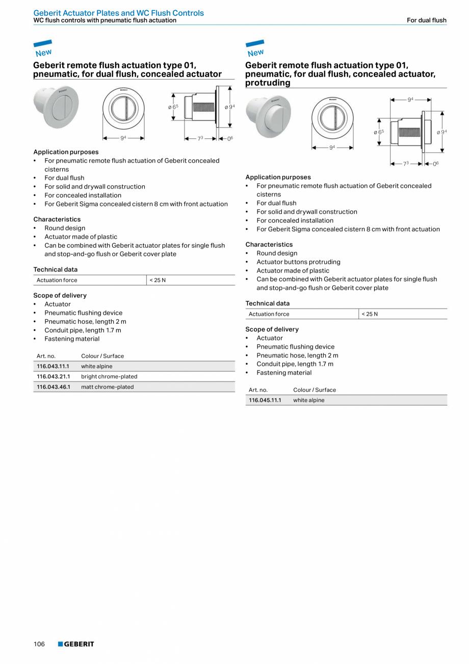 Pagina 106 - Sisteme sanitare Geberit 2015-2016 GEBERIT Scurgere in perete, Scurgere in pardoseala, ...