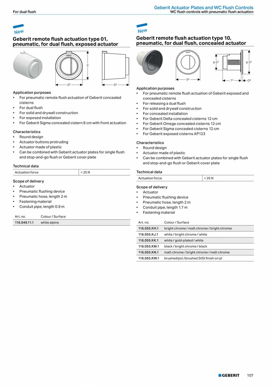 Pagina 107 - Sisteme sanitare Geberit 2015-2016 GEBERIT Scurgere in perete, Scurgere in pardoseala, ...