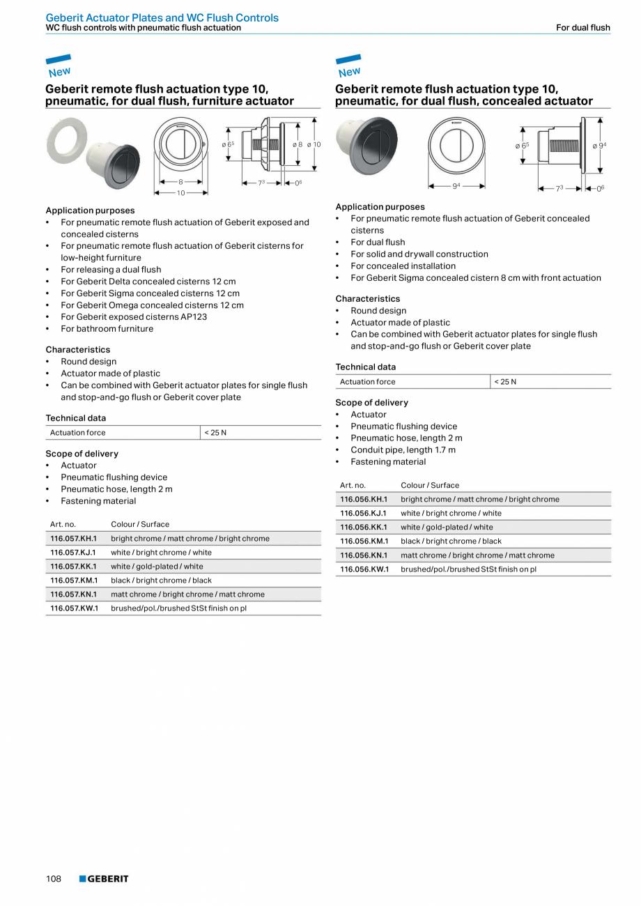 Pagina 108 - Sisteme sanitare Geberit 2015-2016 GEBERIT Scurgere in perete, Scurgere in pardoseala, ...
