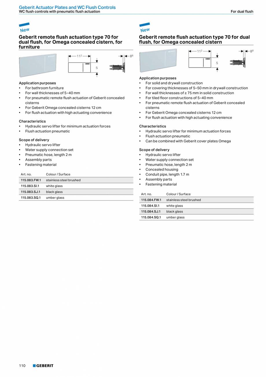 Pagina 110 - Sisteme sanitare Geberit 2015-2016 GEBERIT Scurgere in perete, Scurgere in pardoseala, ...
