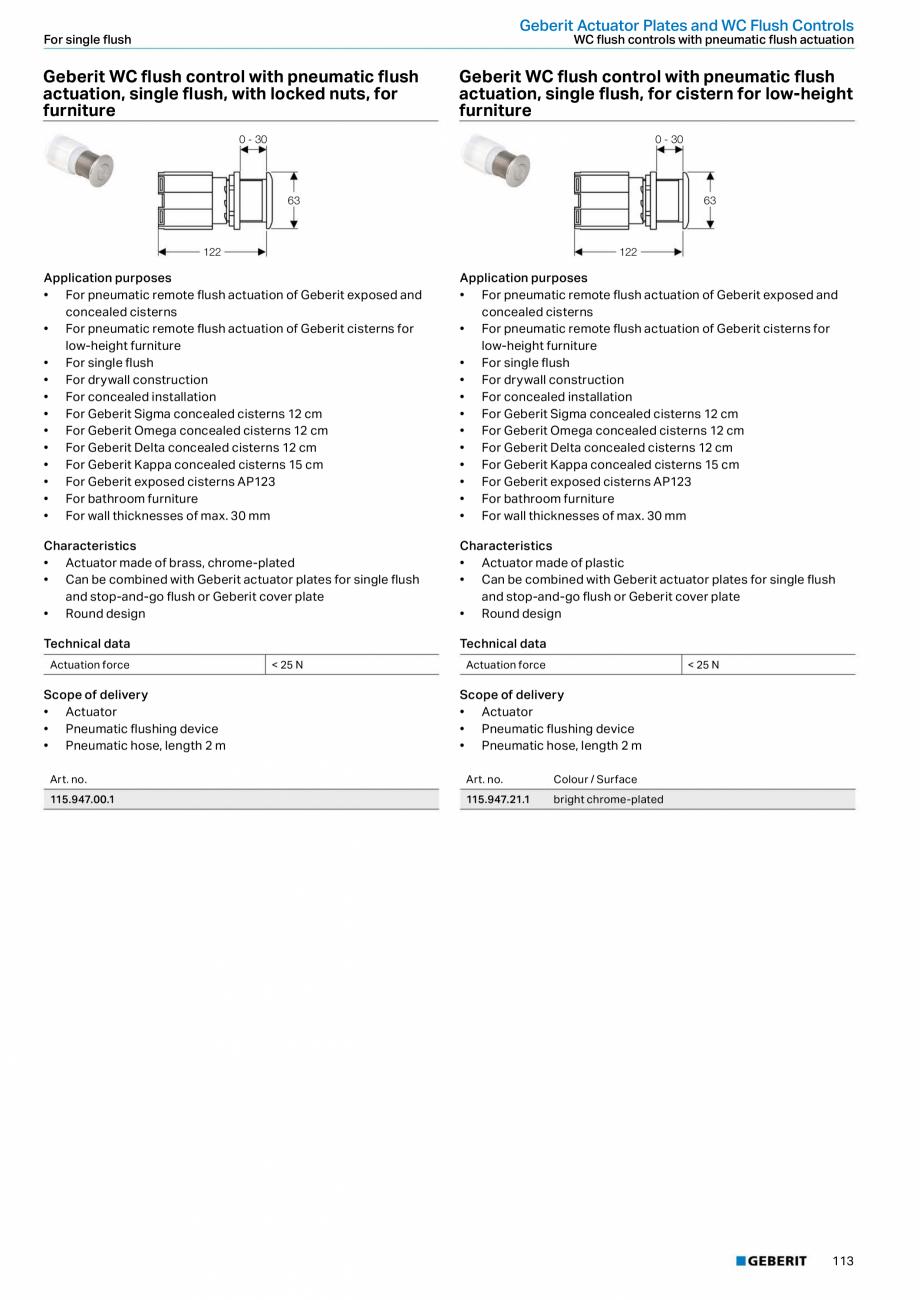 Pagina 113 - Sisteme sanitare Geberit 2015-2016 GEBERIT Scurgere in perete, Scurgere in pardoseala, ...