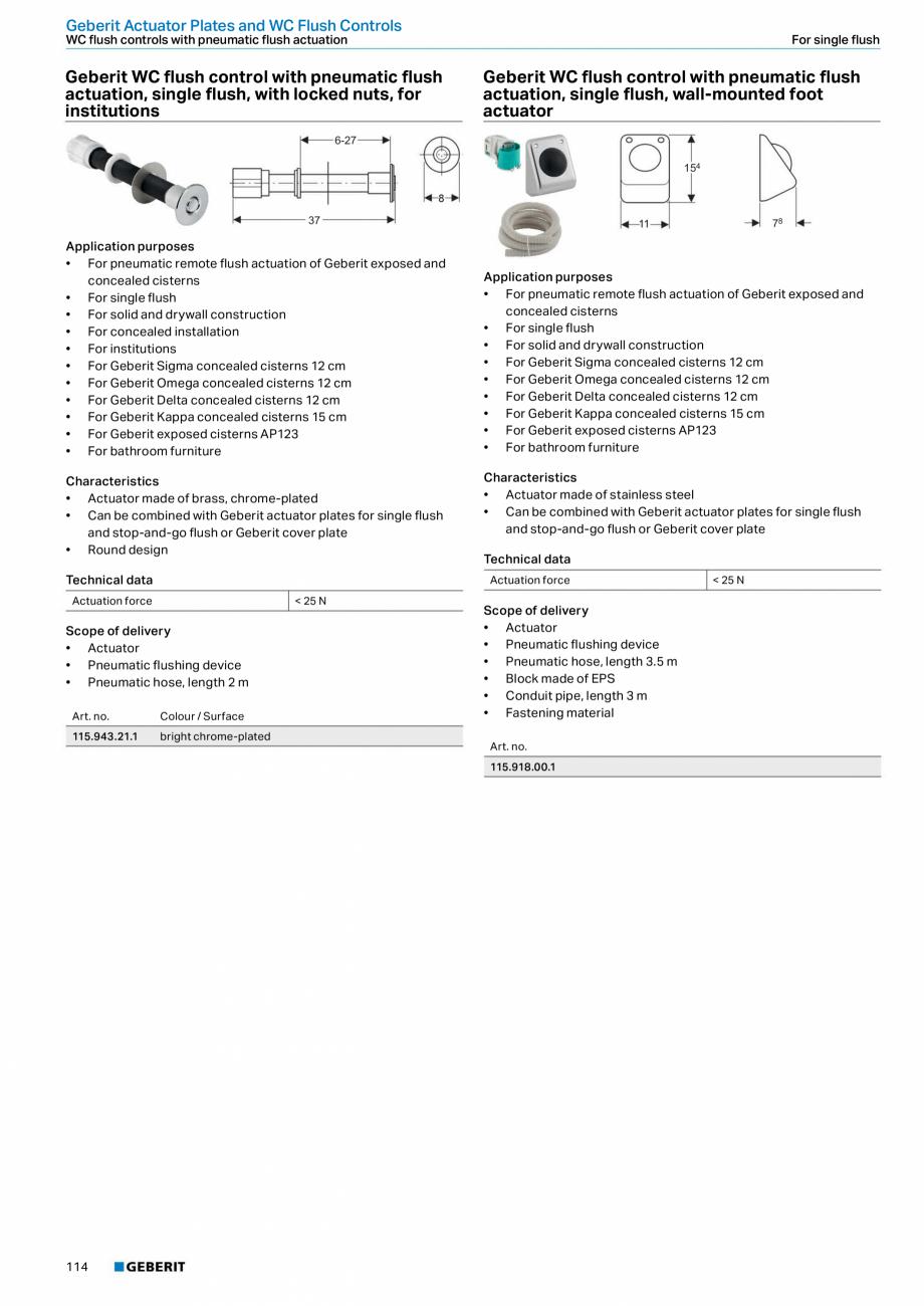 Pagina 114 - Sisteme sanitare Geberit 2015-2016 GEBERIT Scurgere in perete, Scurgere in pardoseala, ...