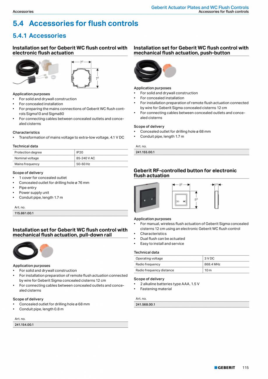 Pagina 115 - Sisteme sanitare Geberit 2015-2016 GEBERIT Scurgere in perete, Scurgere in pardoseala, ...