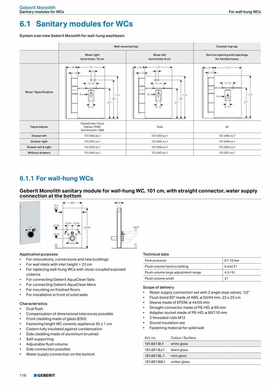 Pagina 118 - Sisteme sanitare Geberit 2015-2016 GEBERIT Scurgere in perete, Scurgere in pardoseala, ...