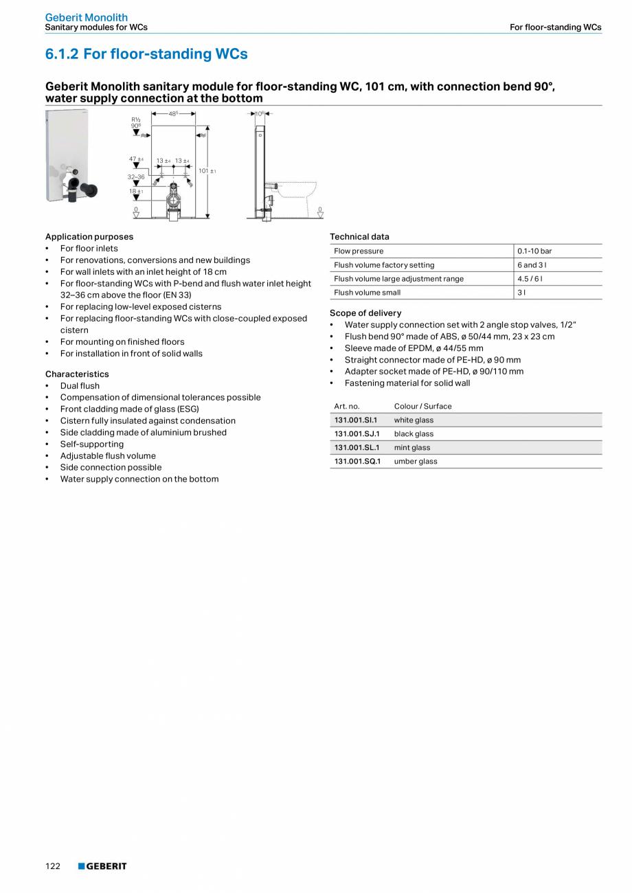 Pagina 122 - Sisteme sanitare Geberit 2015-2016 GEBERIT Scurgere in perete, Scurgere in pardoseala, ...