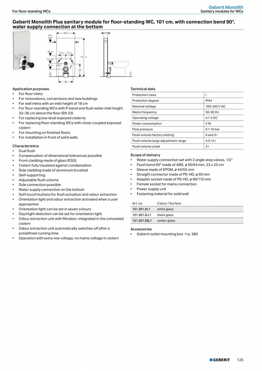 Pagina 123 - Sisteme sanitare Geberit 2015-2016 GEBERIT Scurgere in perete, Scurgere in pardoseala, ...