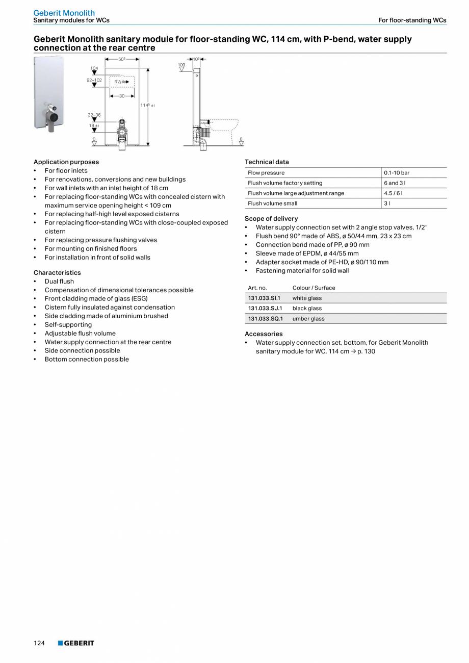 Pagina 124 - Sisteme sanitare Geberit 2015-2016 GEBERIT Scurgere in perete, Scurgere in pardoseala, ...