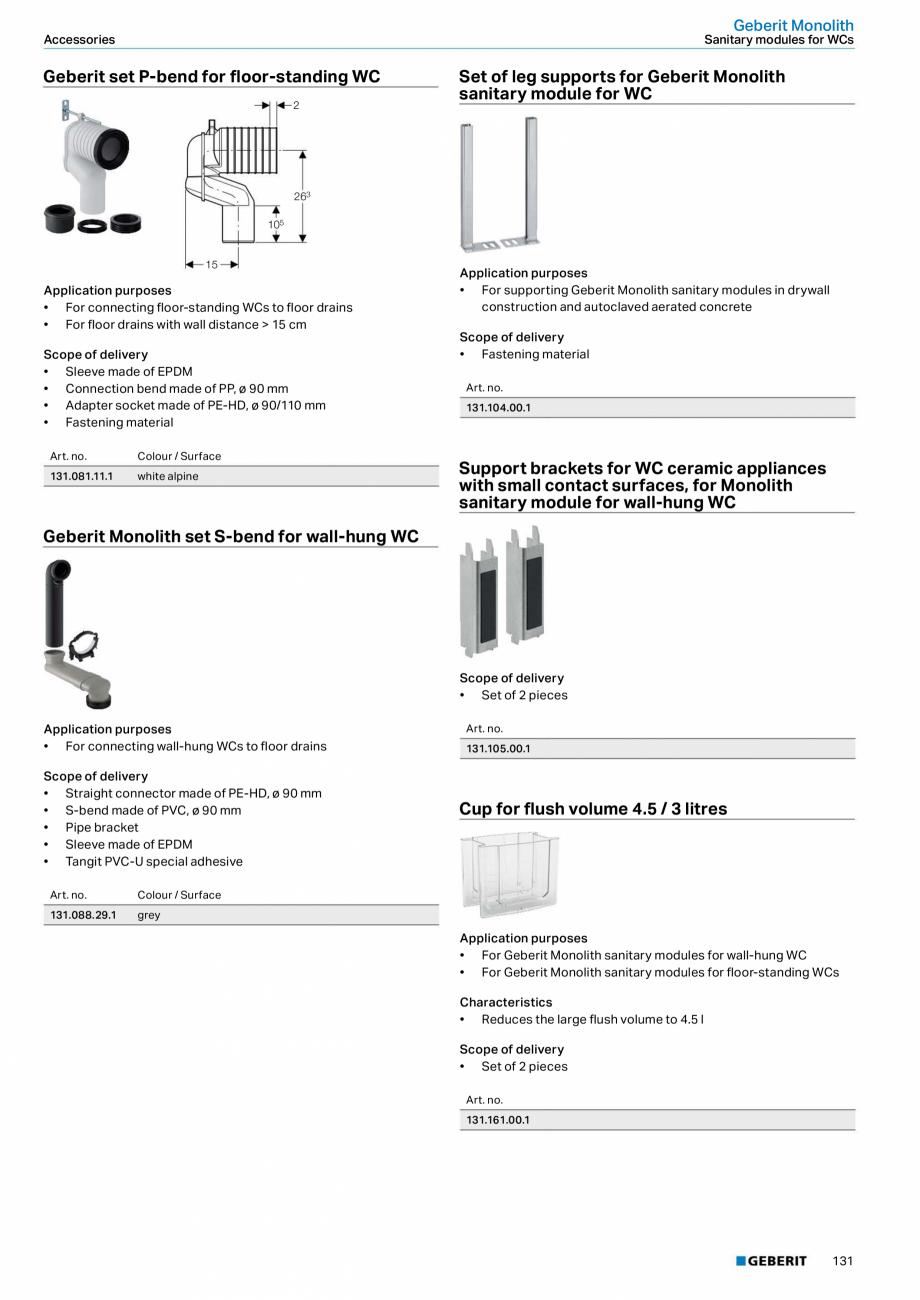 Pagina 131 - Sisteme sanitare Geberit 2015-2016 GEBERIT Scurgere in perete, Scurgere in pardoseala, ...