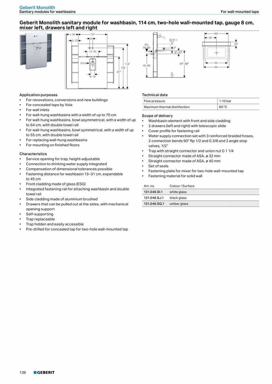Pagina 136 - Sisteme sanitare Geberit 2015-2016 GEBERIT Scurgere in perete, Scurgere in pardoseala, ...