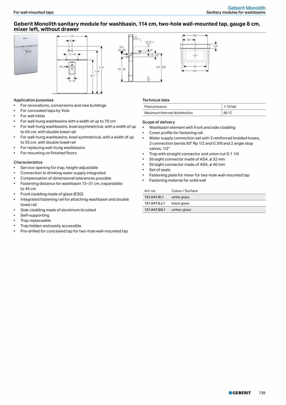 Pagina 139 - Sisteme sanitare Geberit 2015-2016 GEBERIT Scurgere in perete, Scurgere in pardoseala, ...
