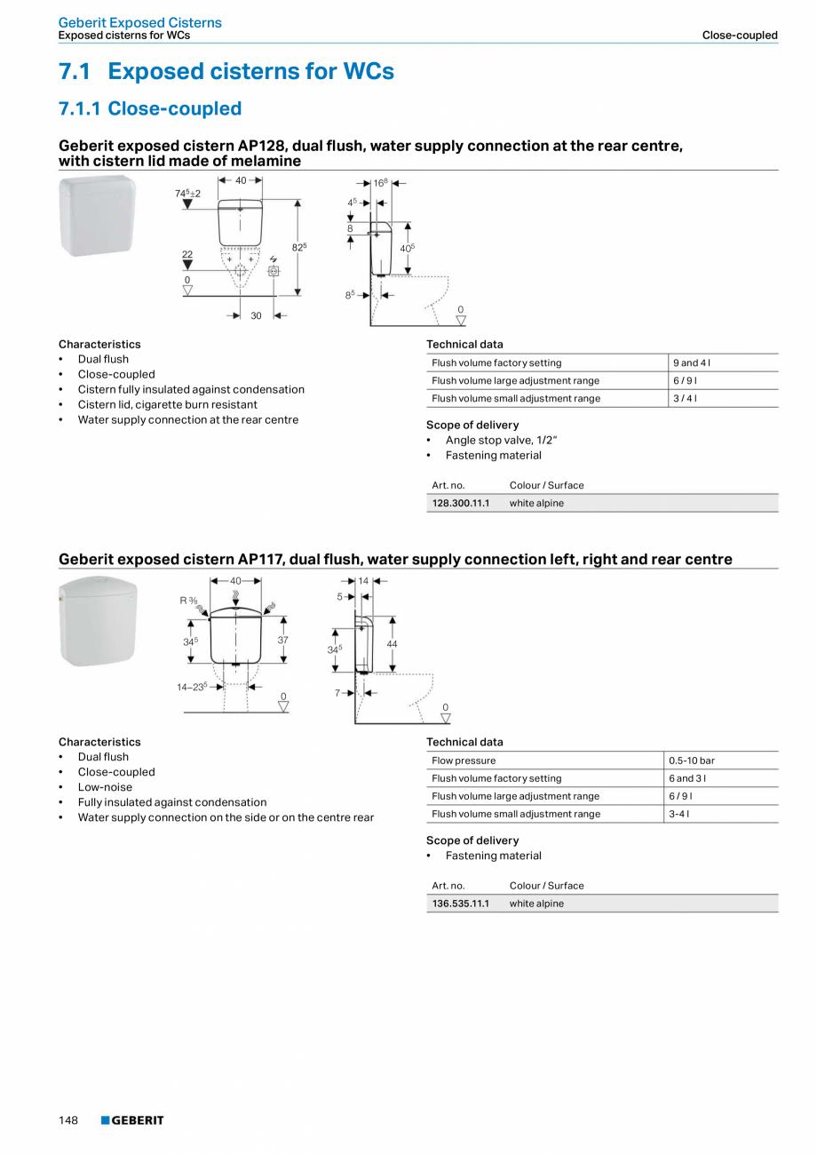 Pagina 148 - Sisteme sanitare Geberit 2015-2016 GEBERIT Scurgere in perete, Scurgere in pardoseala, ...