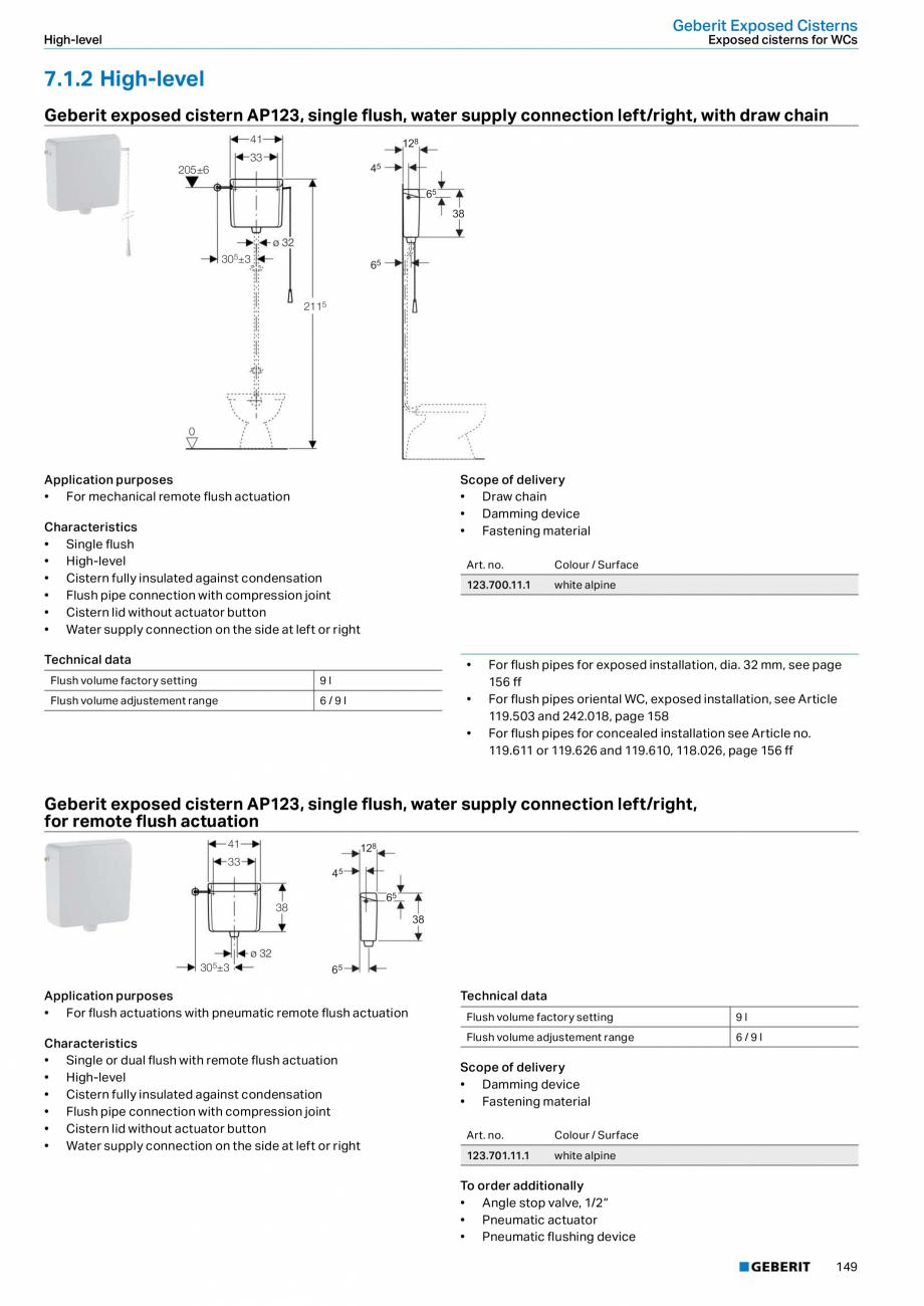 Pagina 149 - Sisteme sanitare Geberit 2015-2016 GEBERIT Scurgere in perete, Scurgere in pardoseala, ...