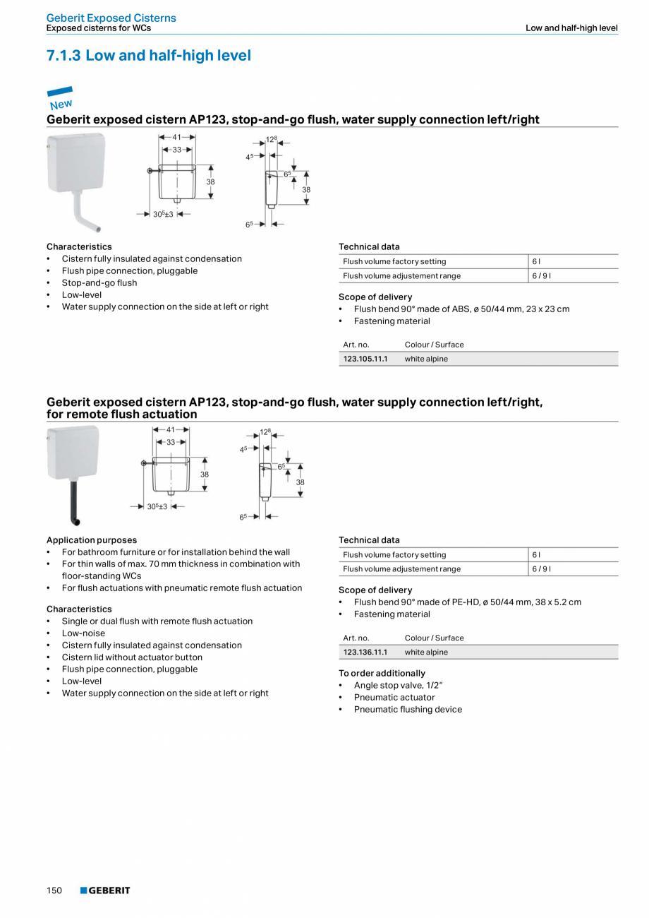Pagina 150 - Sisteme sanitare Geberit 2015-2016 GEBERIT Scurgere in perete, Scurgere in pardoseala, ...