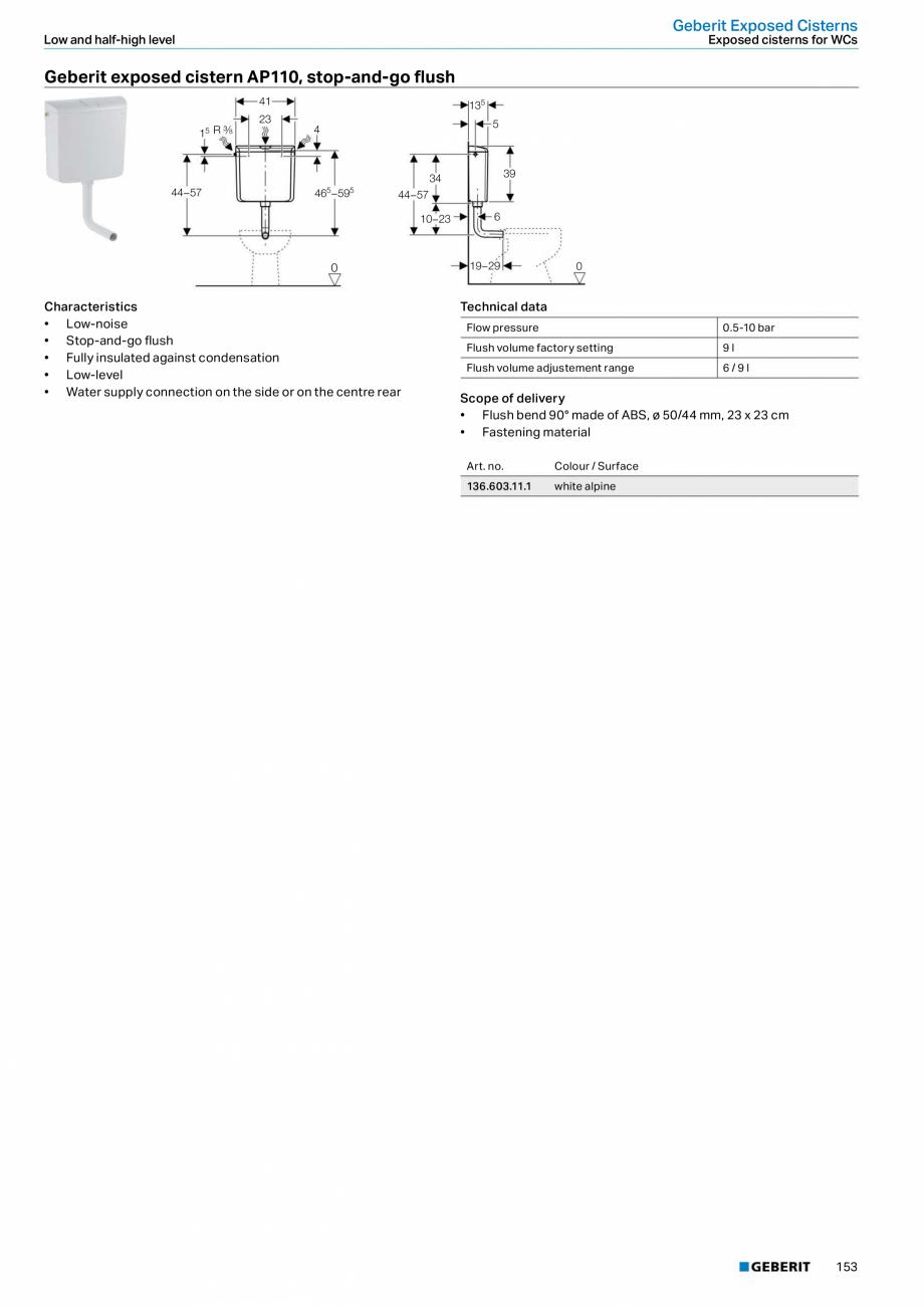 Pagina 153 - Sisteme sanitare Geberit 2015-2016 GEBERIT Scurgere in perete, Scurgere in pardoseala, ...