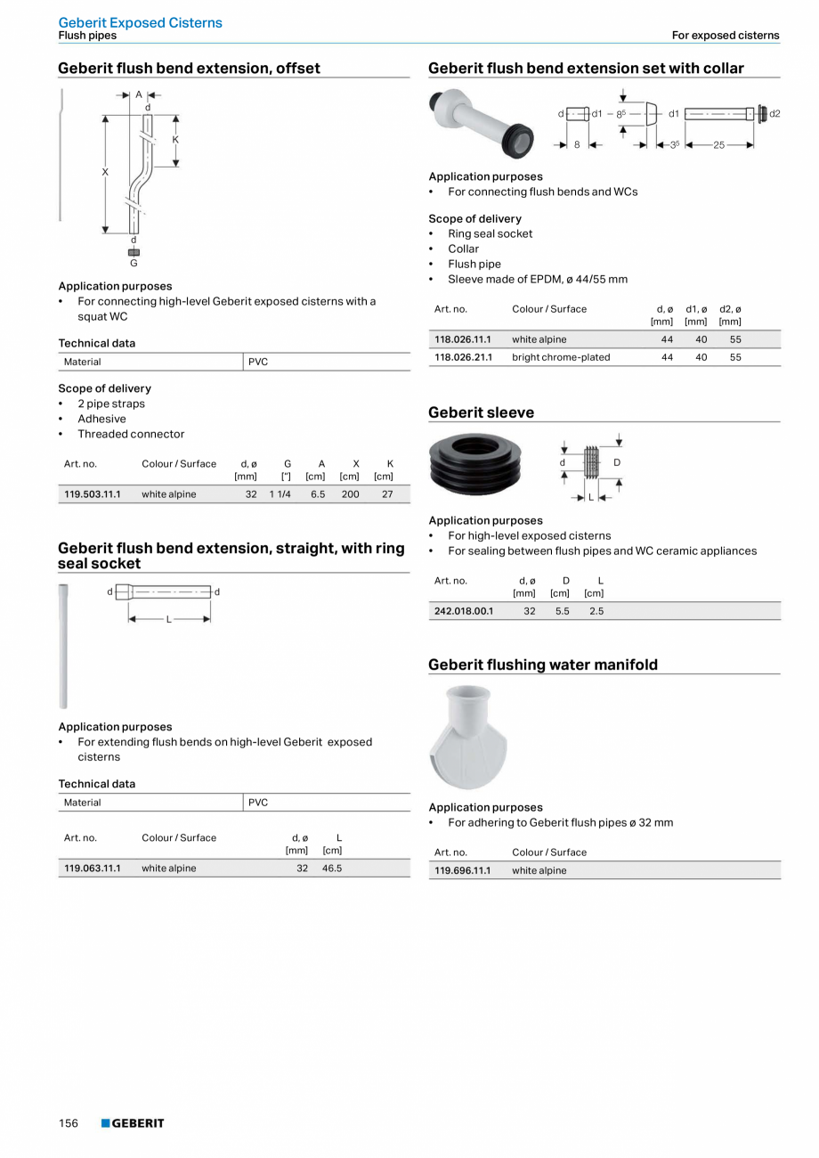 Pagina 156 - Sisteme sanitare Geberit 2015-2016 GEBERIT Scurgere in perete, Scurgere in pardoseala, ...