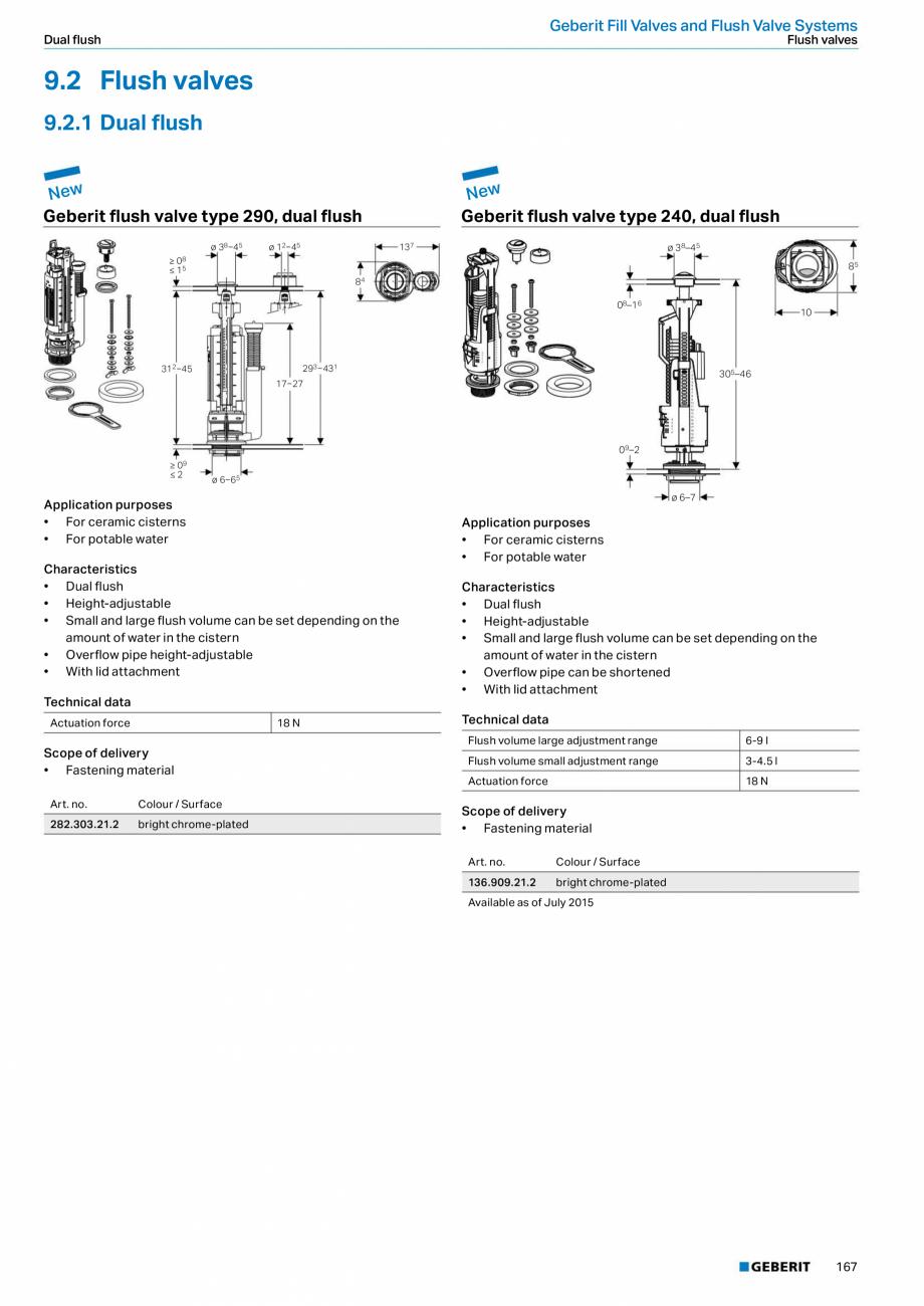 Pagina 167 - Sisteme sanitare Geberit 2015-2016 GEBERIT Scurgere in perete, Scurgere in pardoseala, ...