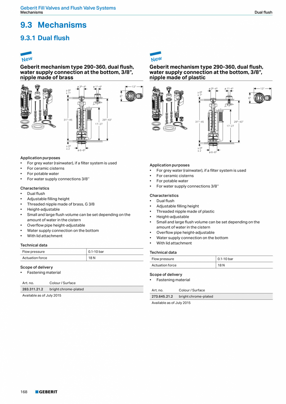 Pagina 168 - Sisteme sanitare Geberit 2015-2016 GEBERIT Scurgere in perete, Scurgere in pardoseala, ...