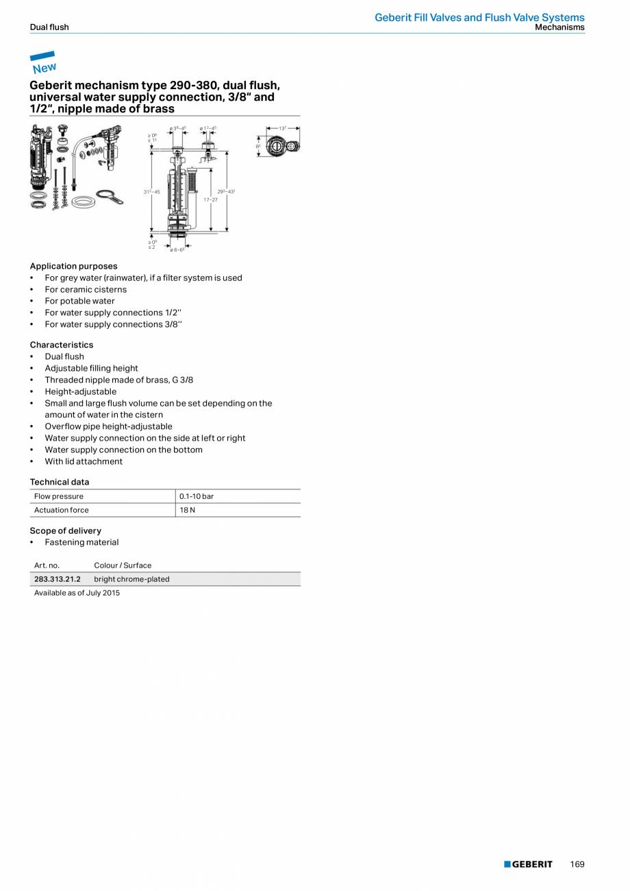 Pagina 169 - Sisteme sanitare Geberit 2015-2016 GEBERIT Scurgere in perete, Scurgere in pardoseala, ...