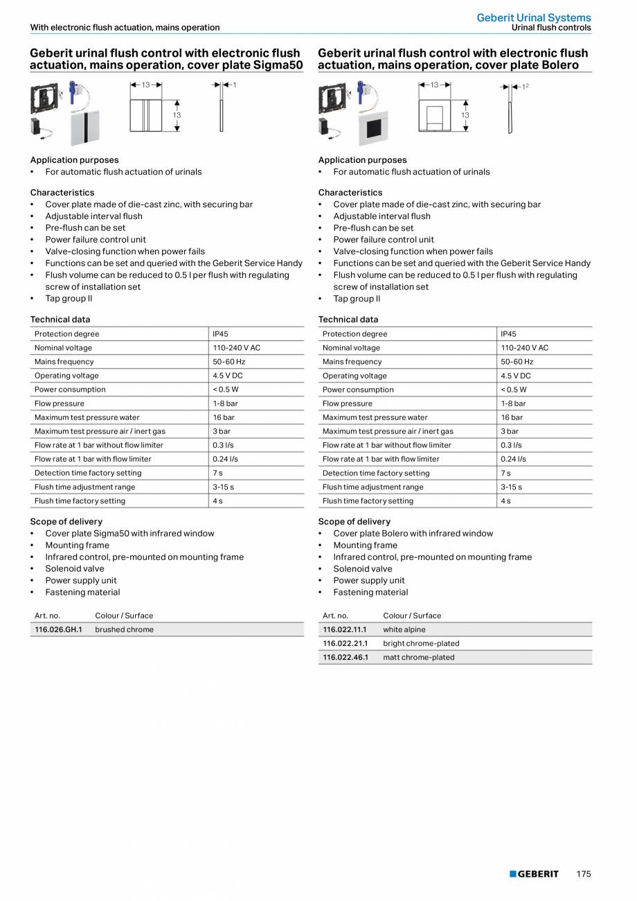 Pagina 175 - Sisteme sanitare Geberit 2015-2016 GEBERIT Scurgere in perete, Scurgere in pardoseala, ...