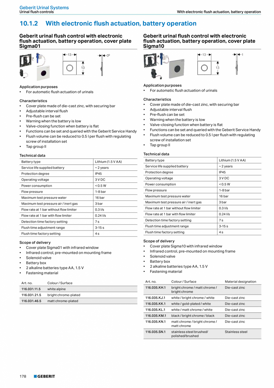 Pagina 178 - Sisteme sanitare Geberit 2015-2016 GEBERIT Scurgere in perete, Scurgere in pardoseala, ...