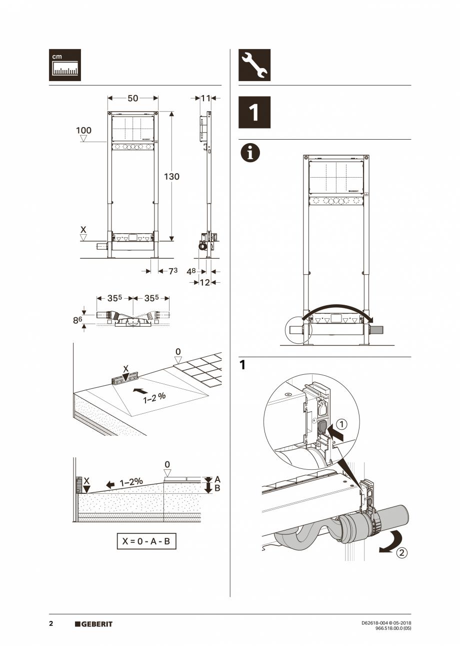 Pagina 2 - Manual de instalare - pentru element de instalare Geberit Duofix pentru dus, 130 cm...