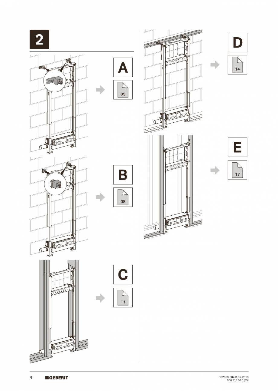 Pagina 4 - Manual de instalare - pentru element de instalare Geberit Duofix pentru dus, 130 cm...