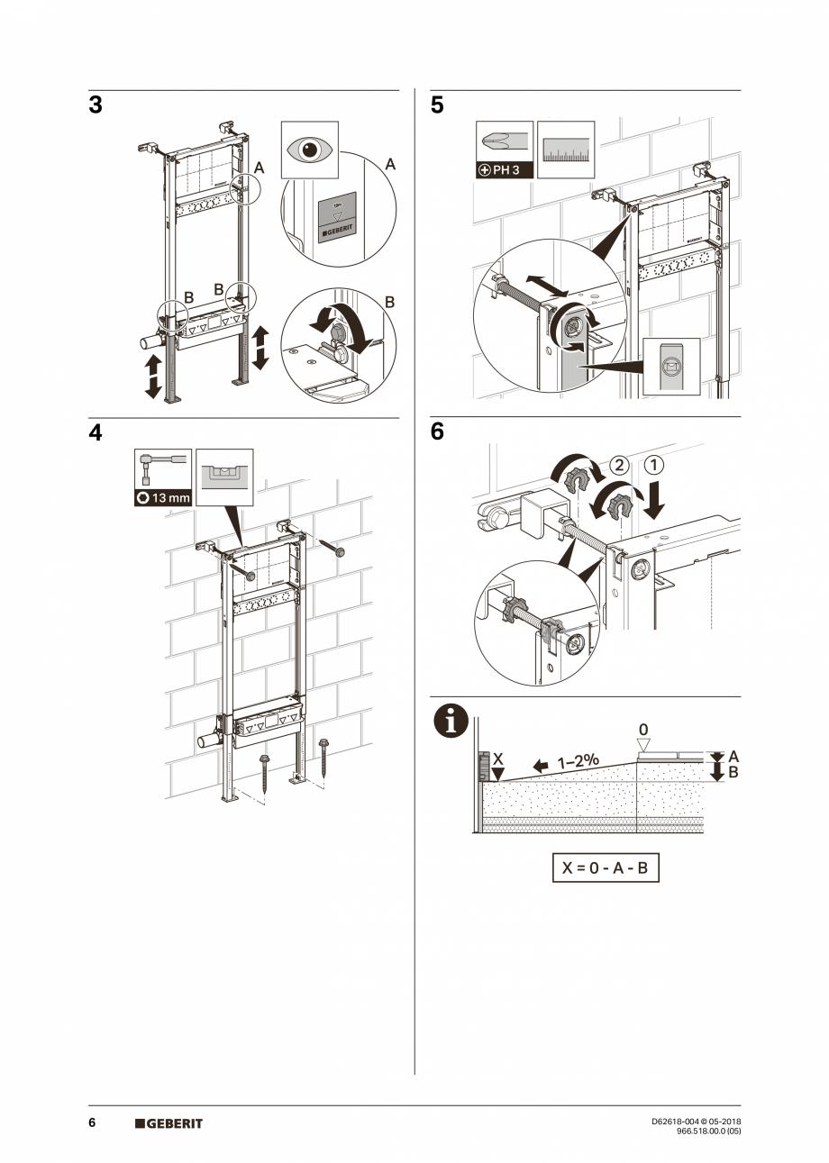 Pagina 6 - Manual de instalare - pentru element de instalare Geberit Duofix pentru dus, 130 cm...