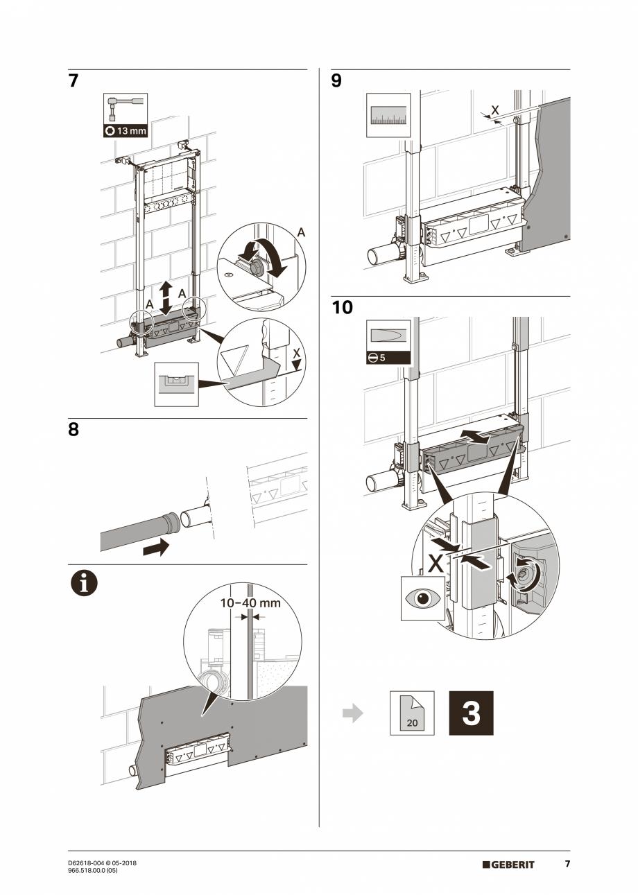 Pagina 7 - Manual de instalare - pentru element de instalare Geberit Duofix pentru dus, 130 cm...