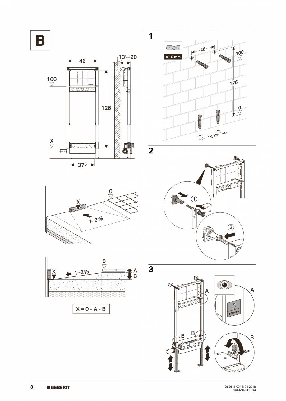 Pagina 8 - Manual de instalare - pentru element de instalare Geberit Duofix pentru dus, 130 cm...