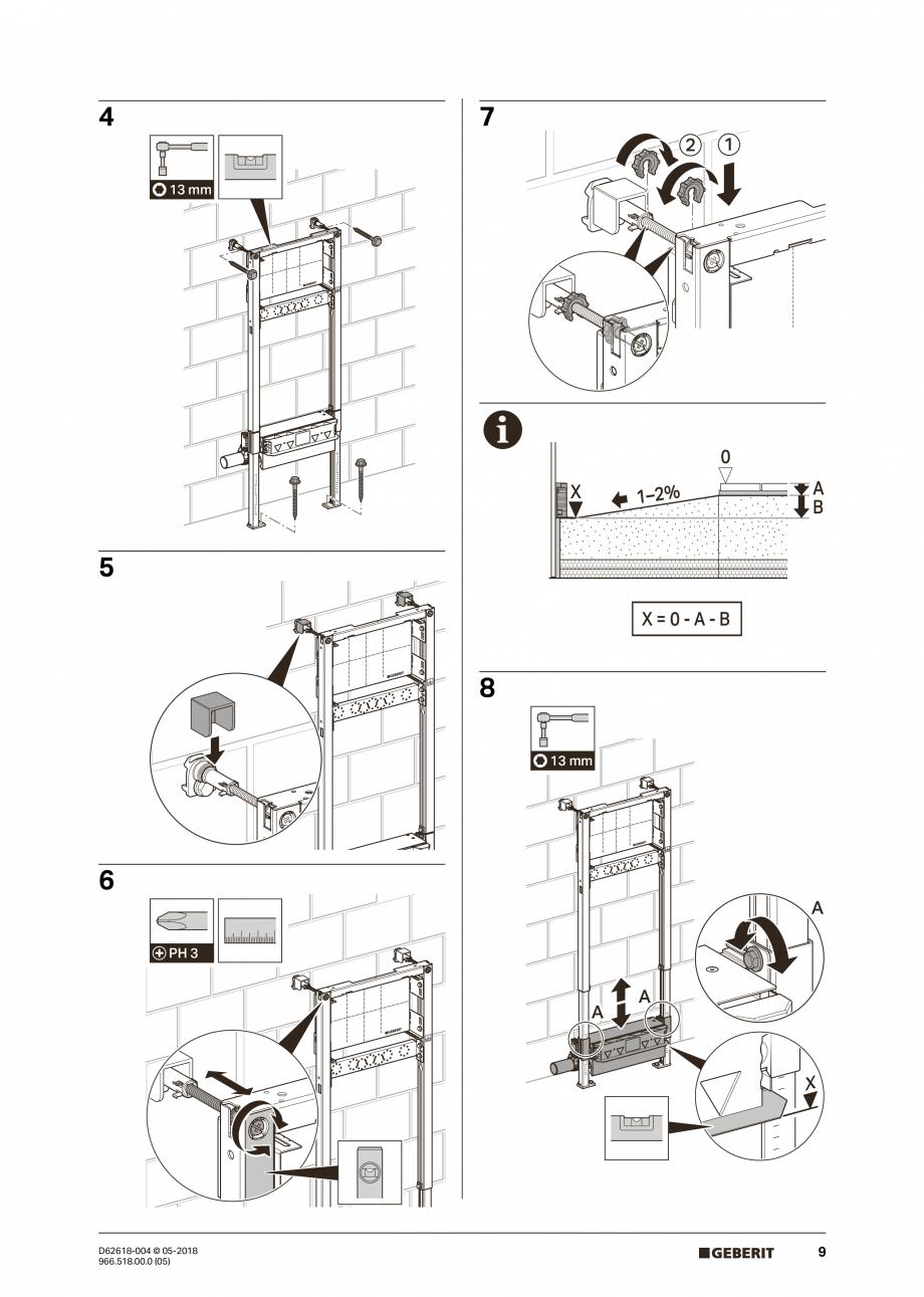 Pagina 9 - Manual de instalare - pentru element de instalare Geberit Duofix pentru dus, 130 cm...