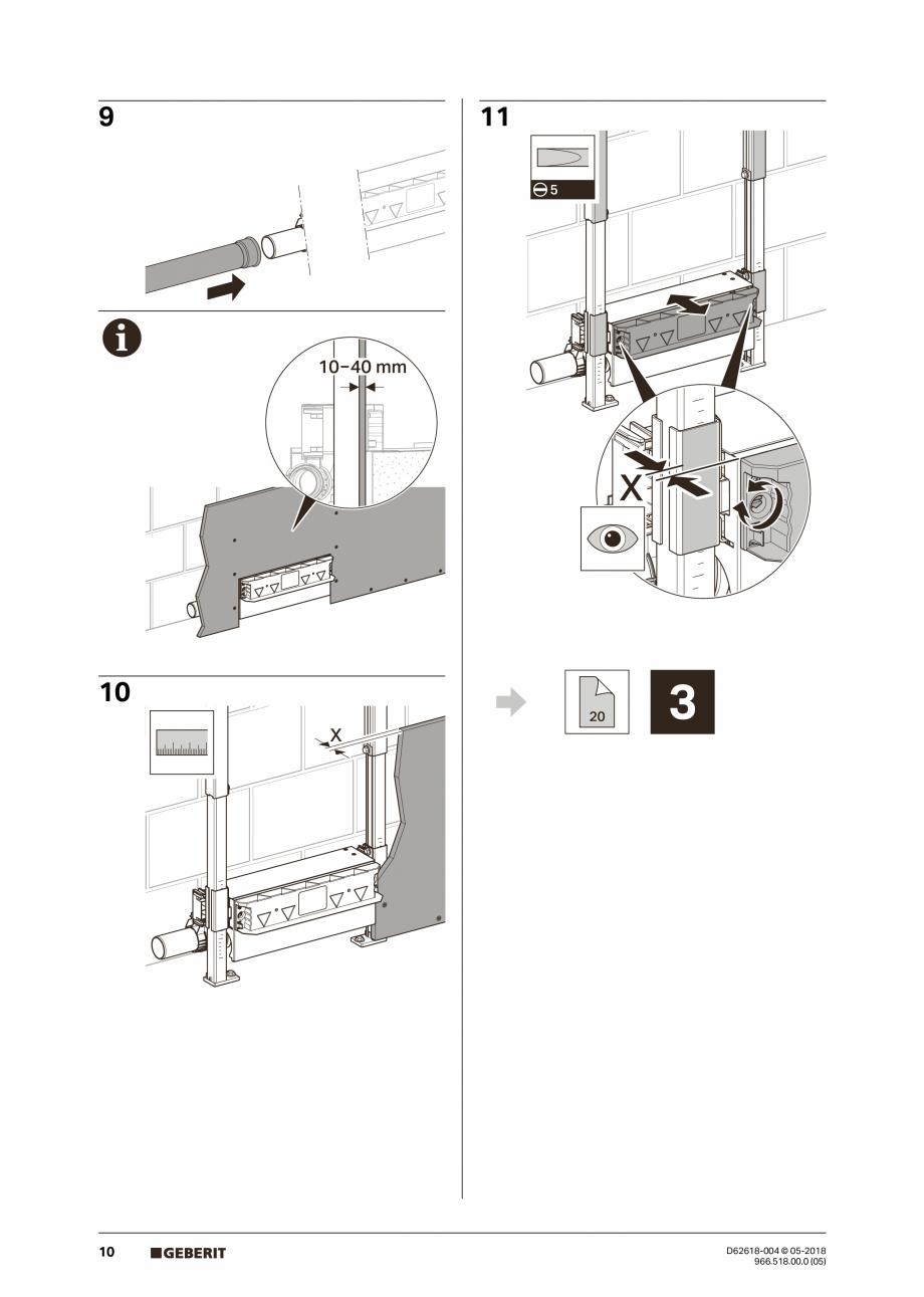 Pagina 10 - Manual de instalare - pentru element de instalare Geberit Duofix pentru dus, 130 cm...