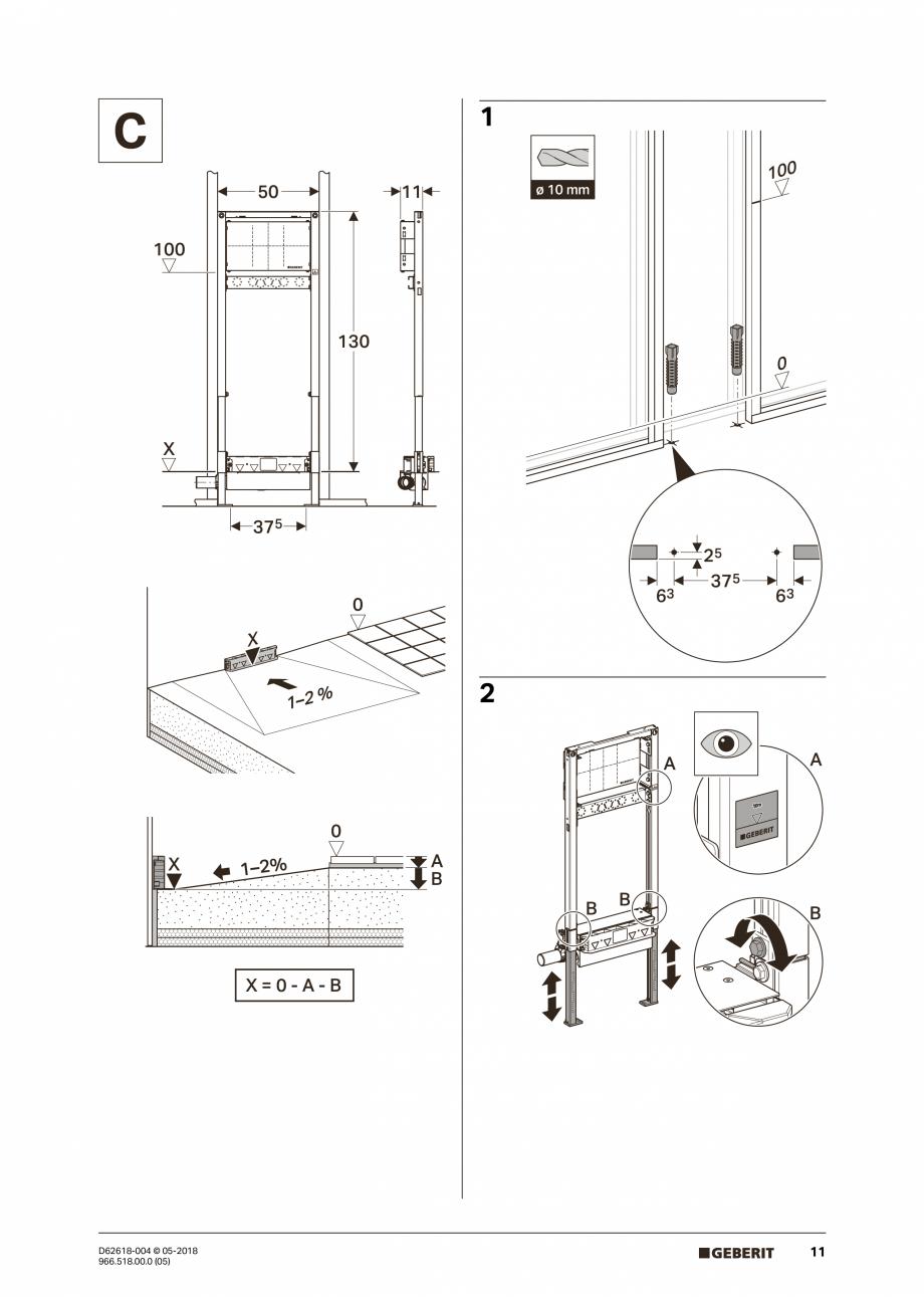 Pagina 11 - Manual de instalare - pentru element de instalare Geberit Duofix pentru dus, 130 cm...