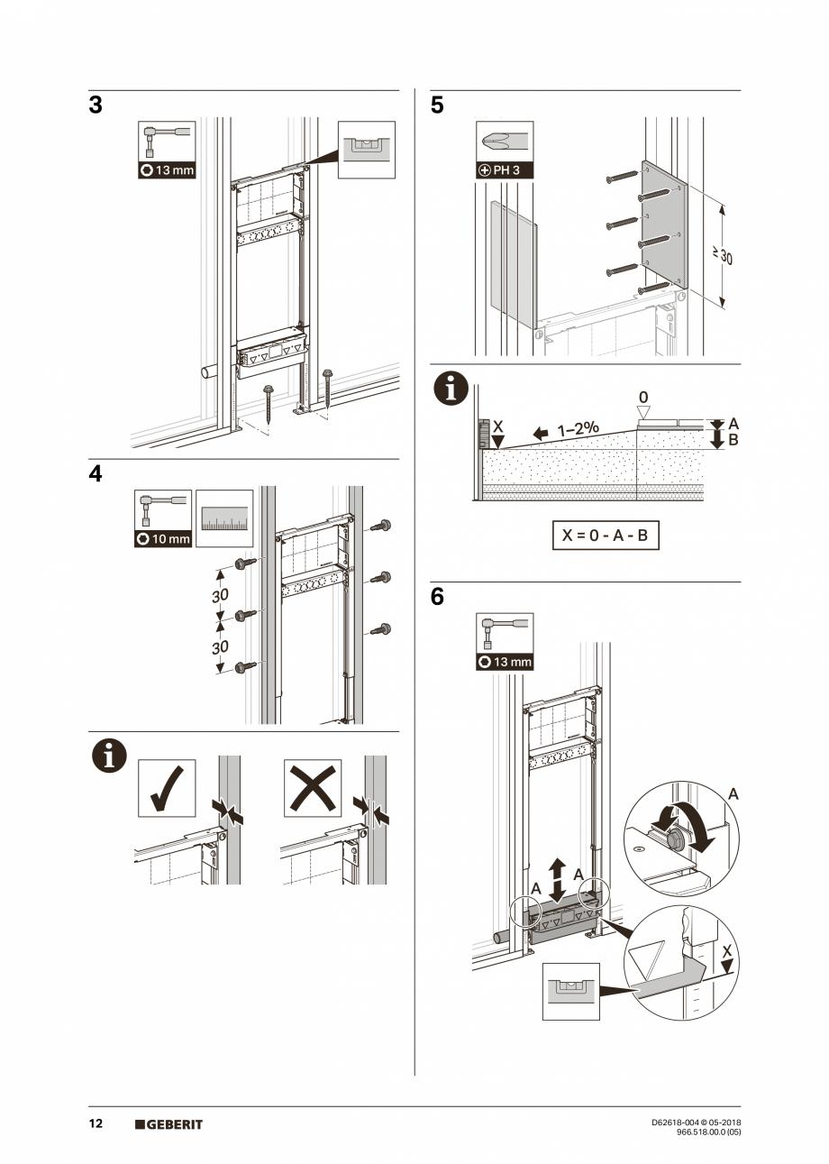Pagina 12 - Manual de instalare - pentru element de instalare Geberit Duofix pentru dus, 130 cm...